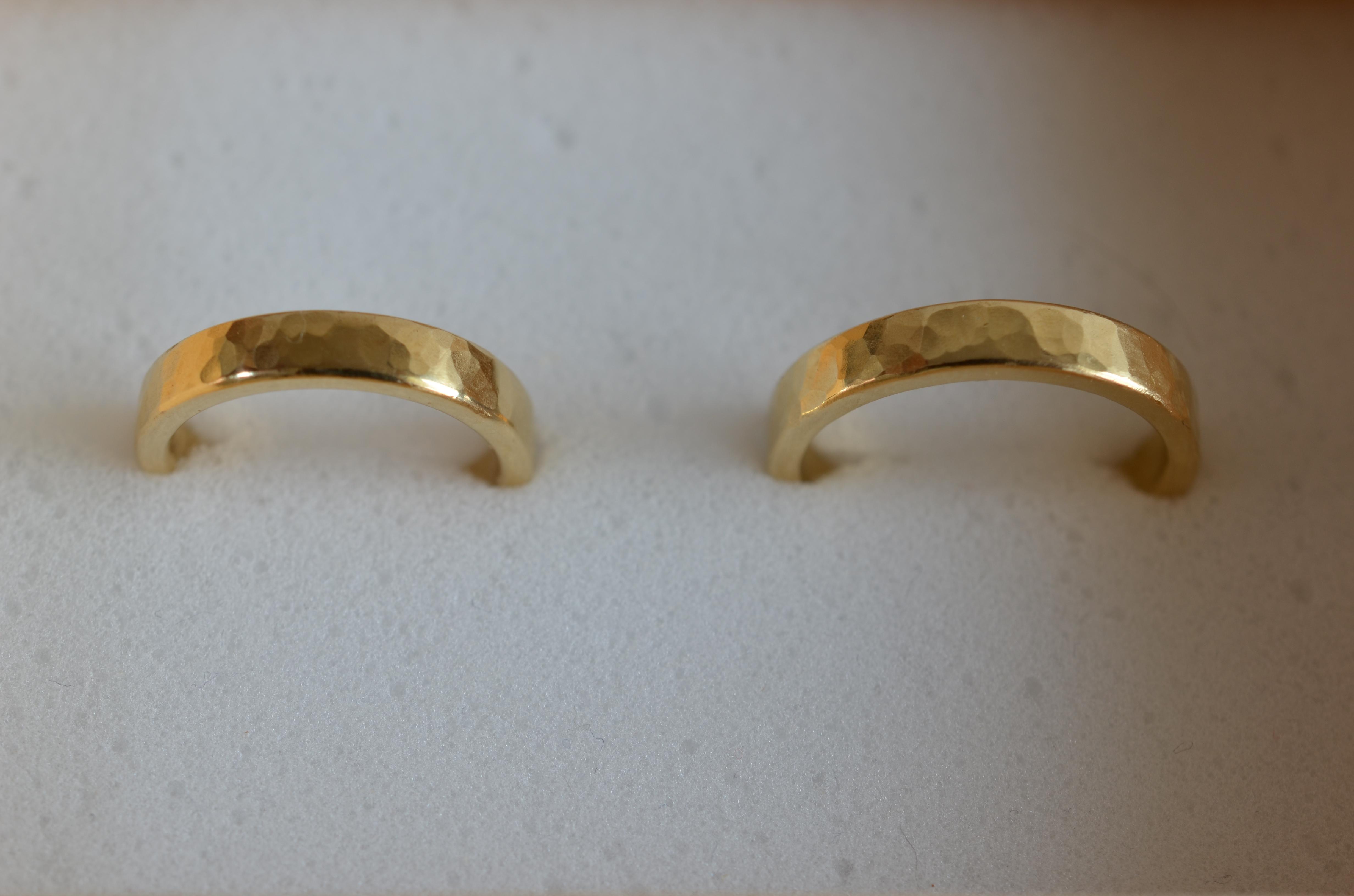 結婚指輪 K18 / 平角 / 鎚目仕上げ