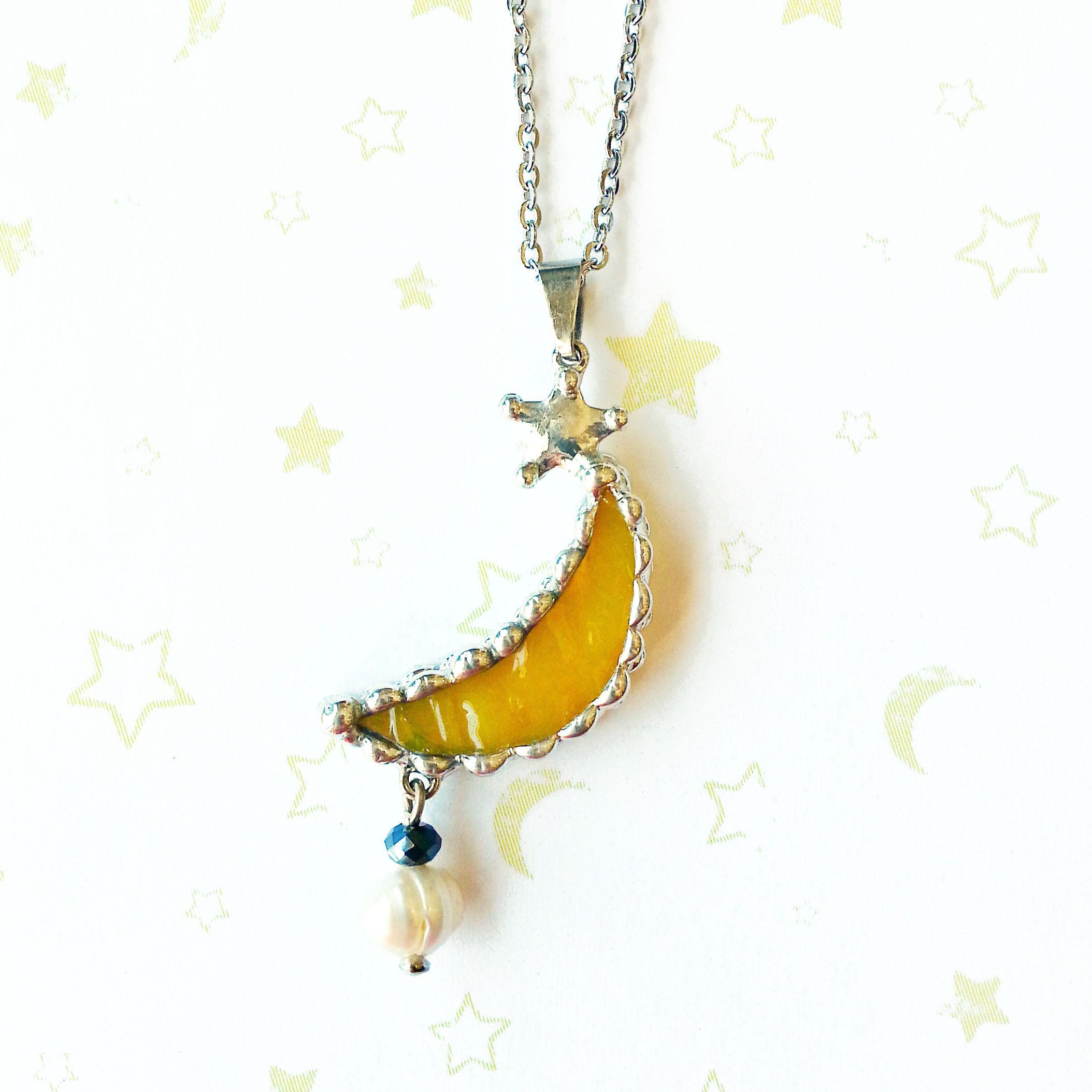 三日月と星・淡水パールのネックレス01(moon, star, ムーン, スター)