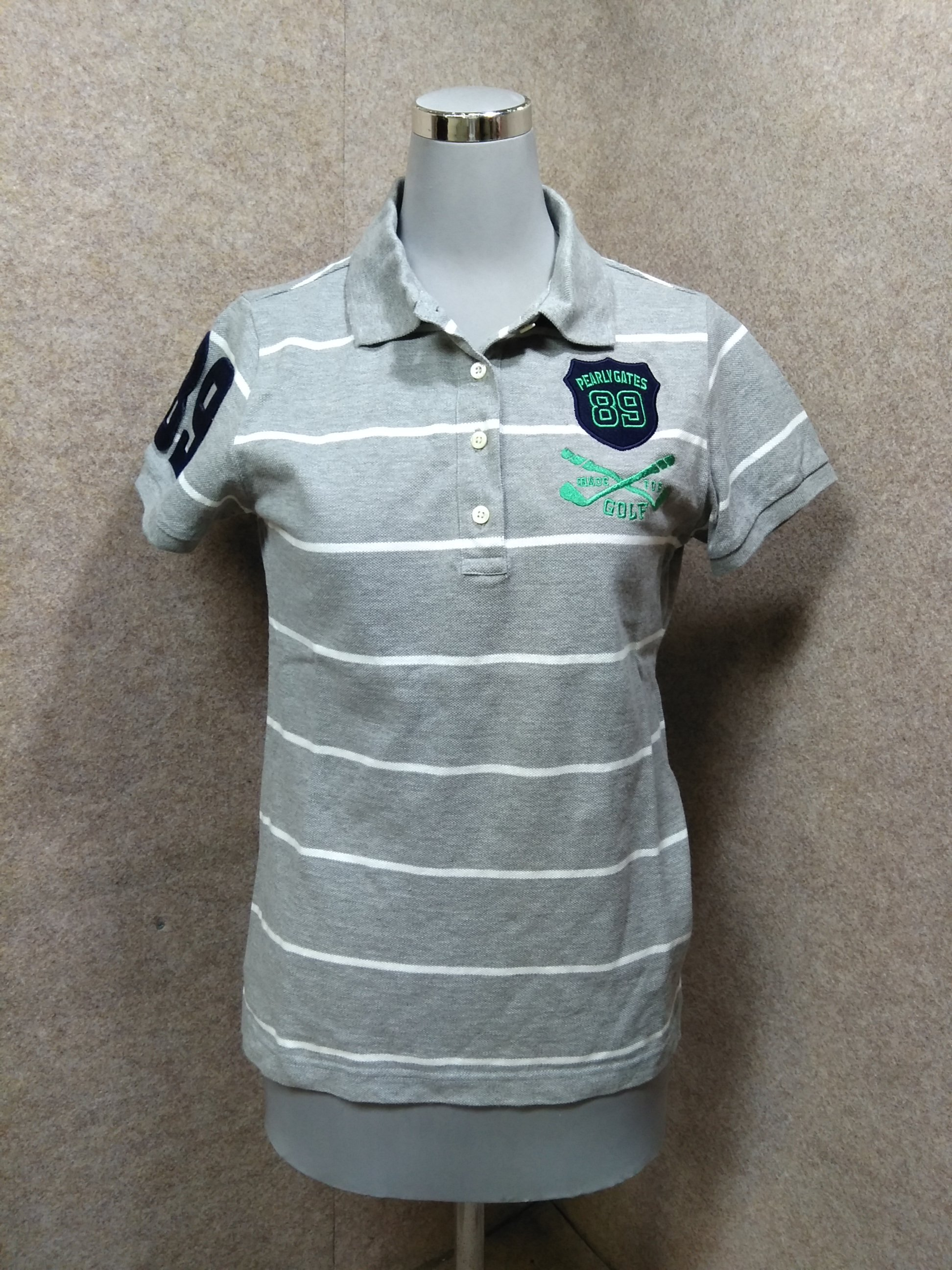 パーリーゲイツ レディース ポロシャツ 1 グレー系 ゴルフ柄刺繍 y1334j