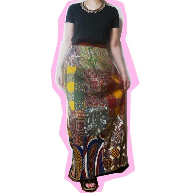 ≪USED≫パッチワークロングスカート