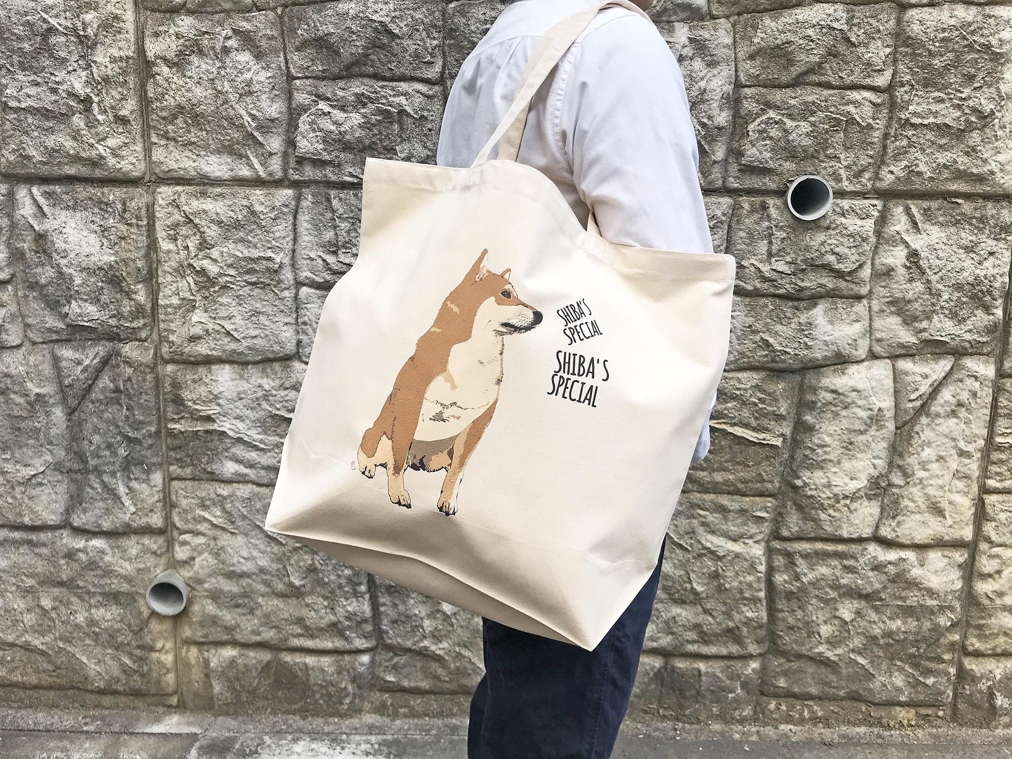 ビッグサイズな柴犬トートバッグ<赤柴デザイン>