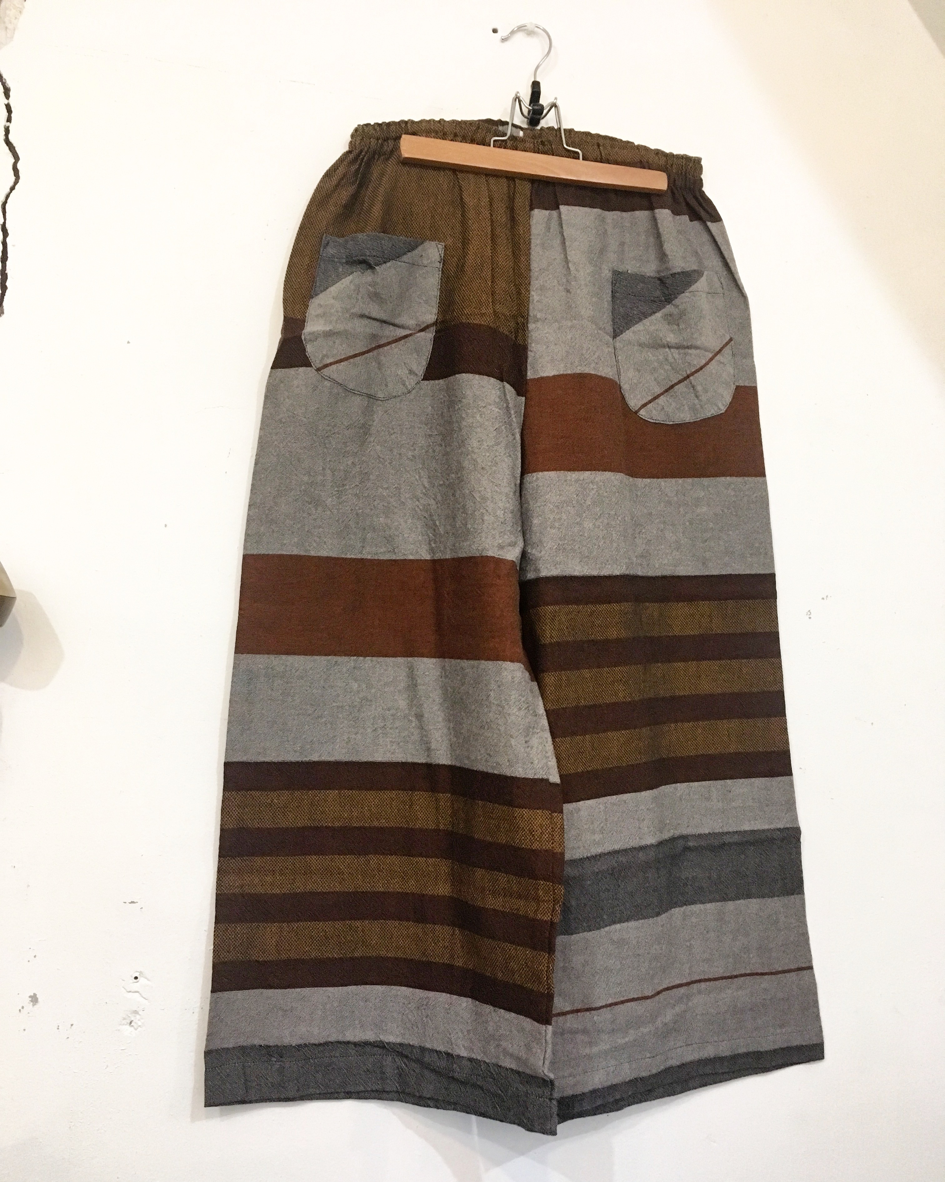 【solmu】播州織 only one pants <ST> gray×brown
