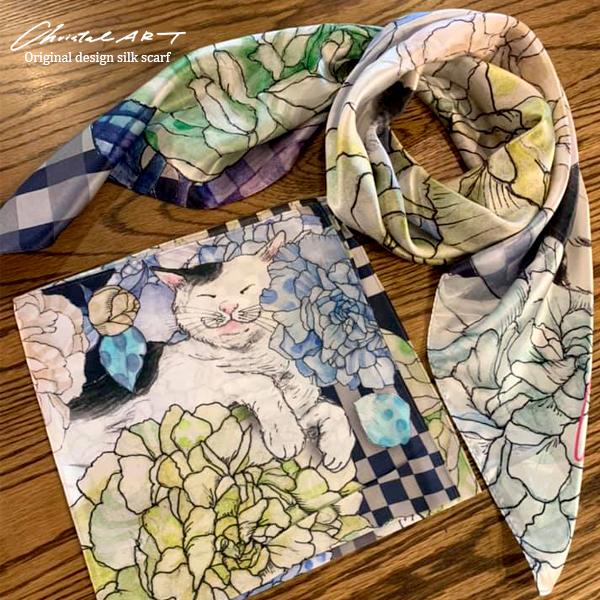 限定1セットのみ販売◆特別価格◆「猫と芍薬」柄 スカーフ&ハンカチセット