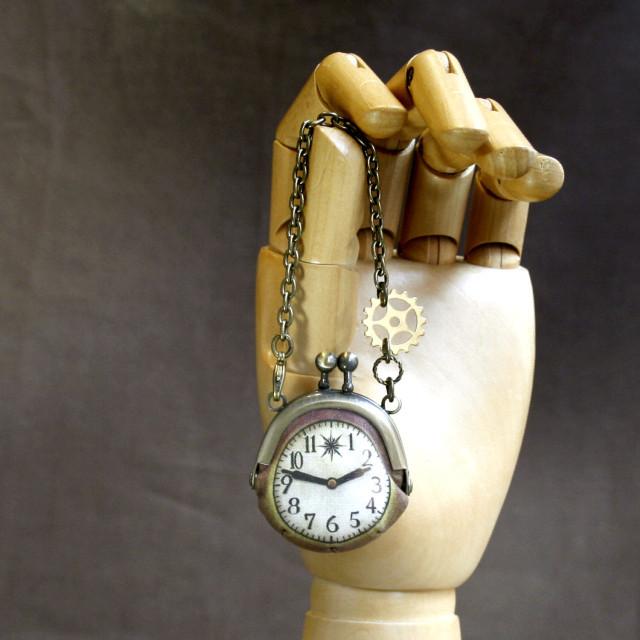 【即納】時計がま口ミニ 歯車のバッグチャーム時計がま口ミニ 歯車のバッグチャーム - 金星灯百貨店