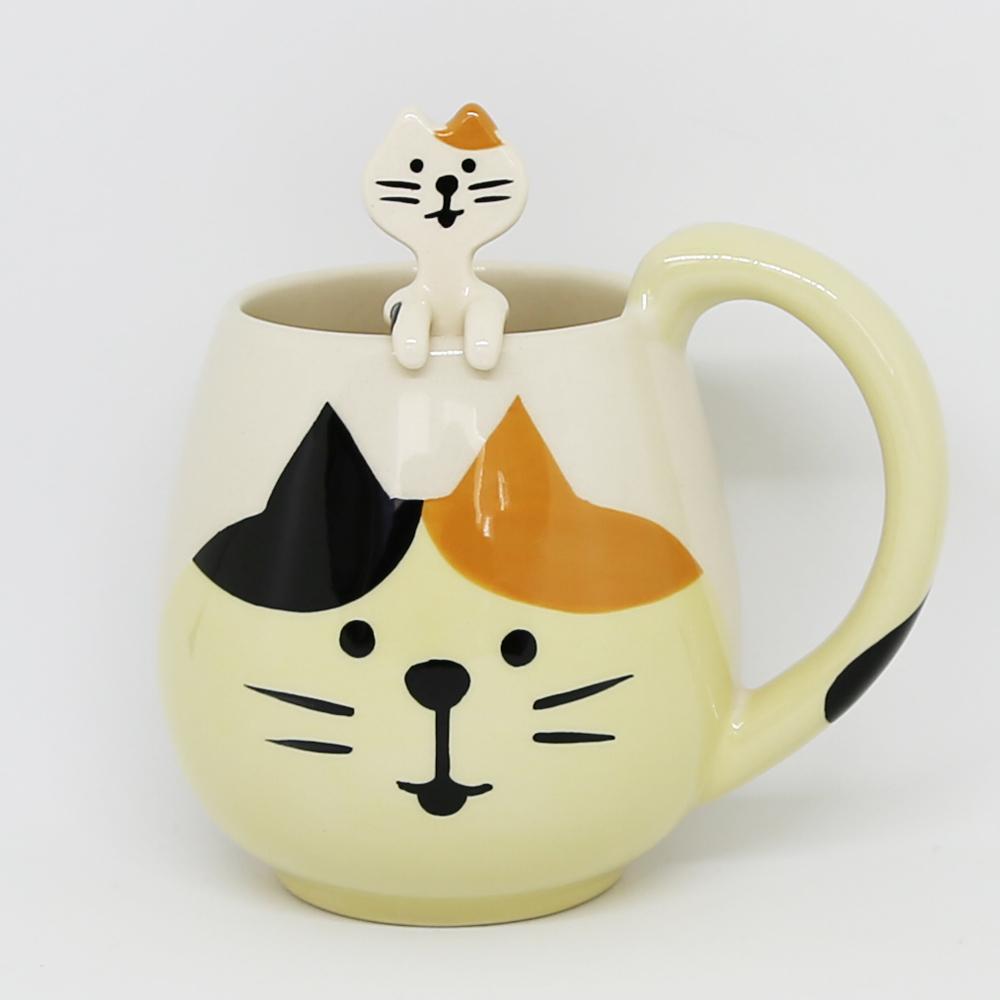 猫マグカップ(三毛猫スプーンセット)