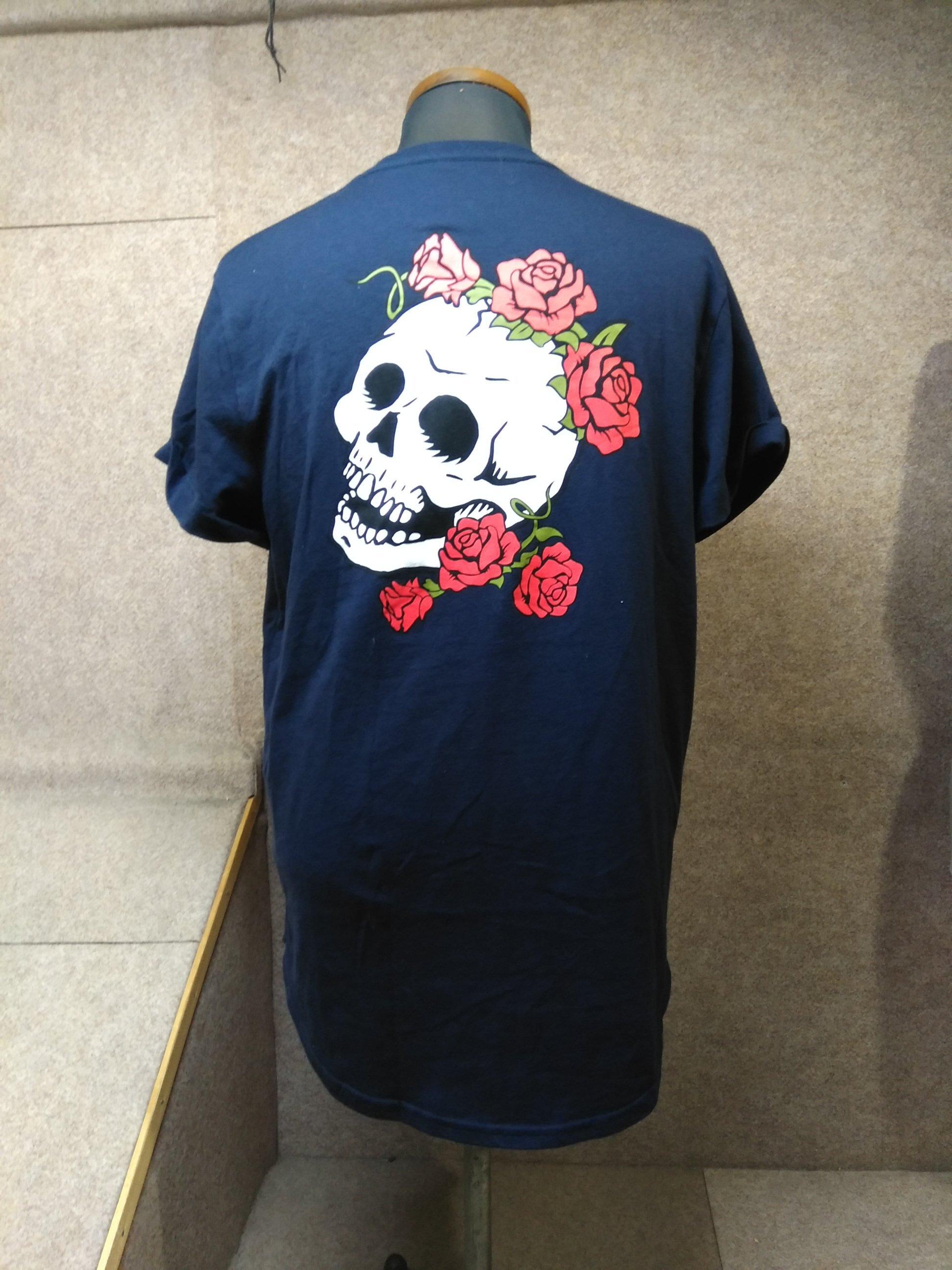 HOLLISTER ホリスター Tシャツ 紺 L 薔薇 スカル mh403s