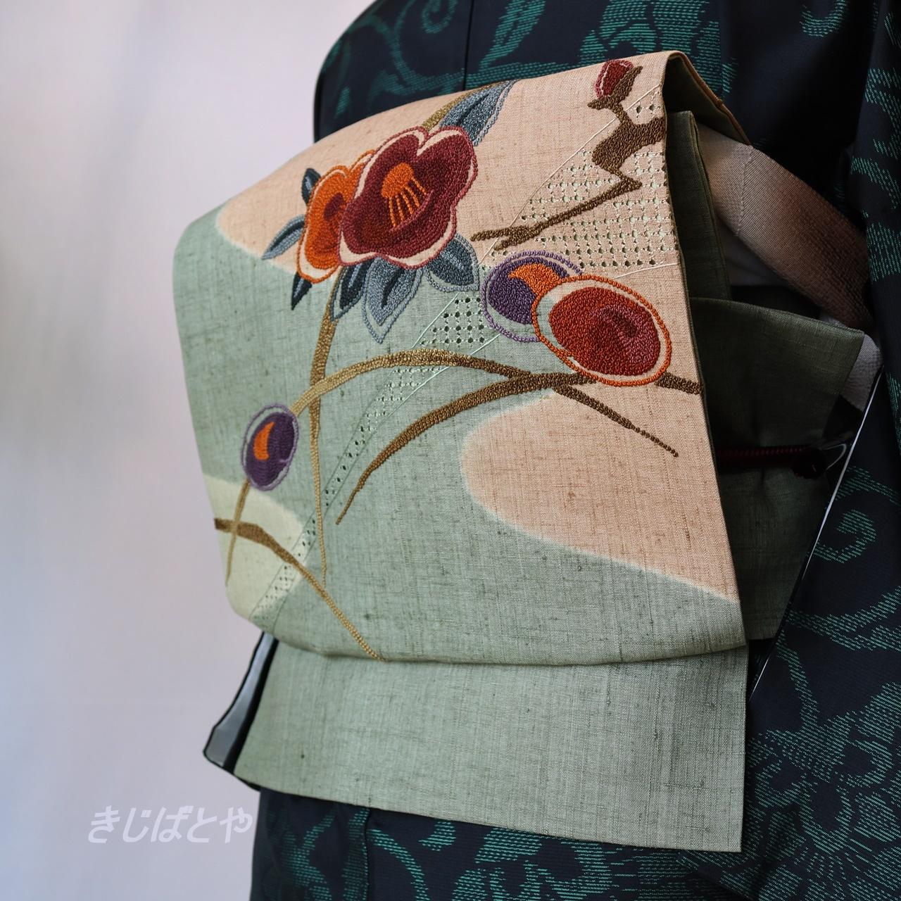 正絹紬 青柳鼠に相良刺繍のなごや
