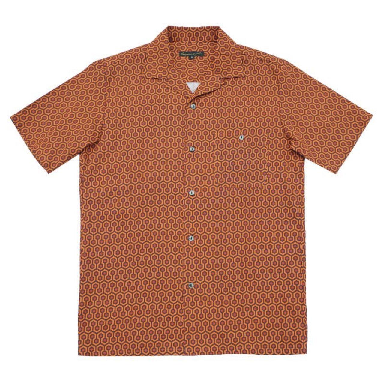 【Original John】 半袖オープンカラーシャツ THE SHINING オーバールックホテル 〈Orange〉