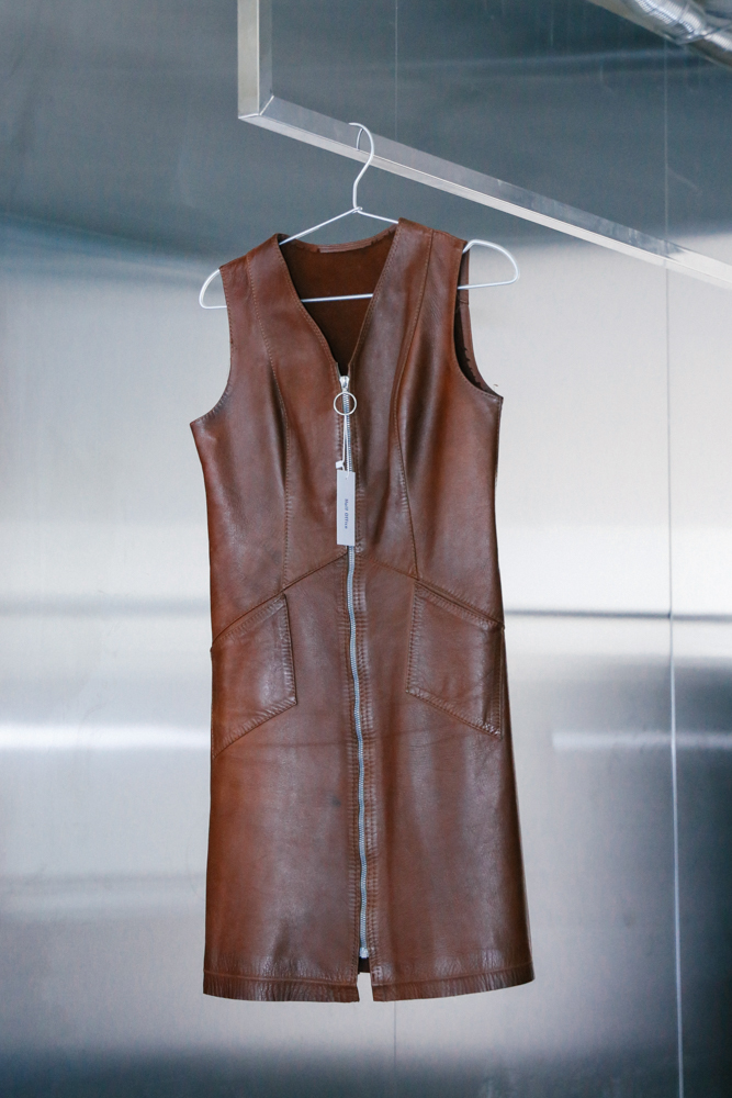 70`s Calf Brown Leather Dress