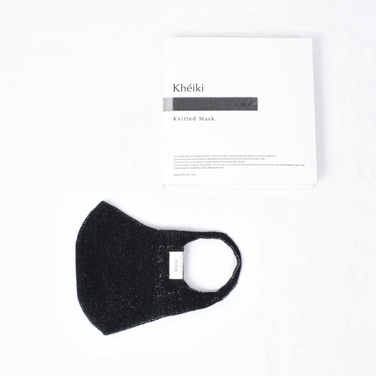 Knitted Mask 2pcs Set / KMK / Mercerized Long Staple Cotton / #Snow Black