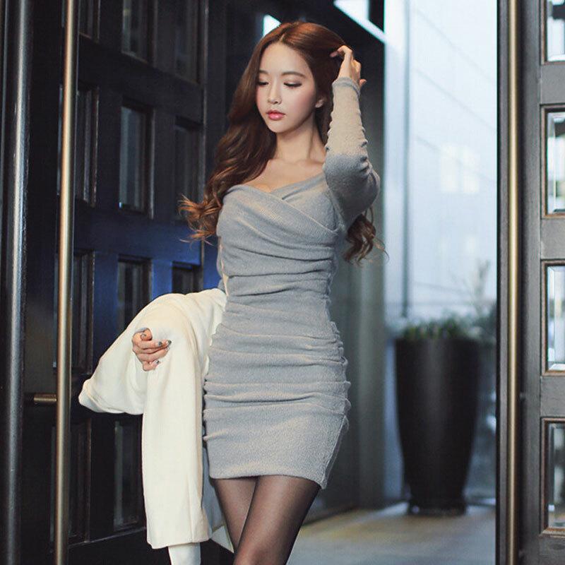 「ワンピース」絶対細く見えファッションシンプル2色新作春スリムセクシーワンピース