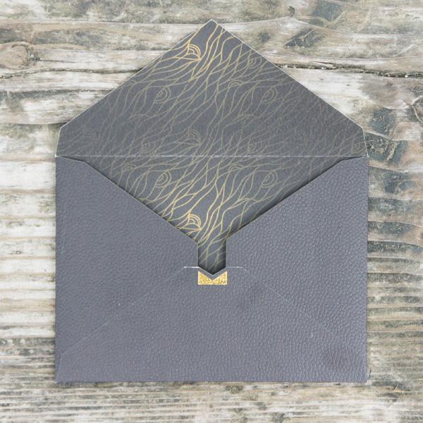 【黒×黒パターン】カード付スタイリッシュ封筒 HOA01C