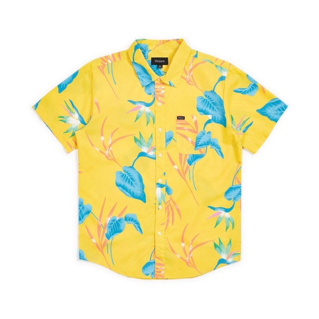 BRIXTON #Charter Print S/S Woven - YELLOW