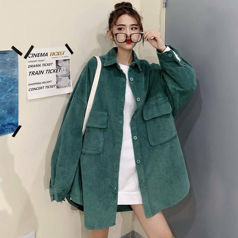 【送料無料】 ビッグシルエット♡ ゆるだぼ コーデュロイ シャツ ジャケット 羽織り オーバーサイズ ドロップショルダー