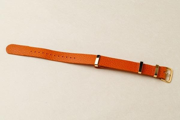 NATO STRAP革の時計ベルト □オレンジ・ゴールド□ _イタリアンレザー ナトータイプ 腕時計付替えベルト_ - 画像1