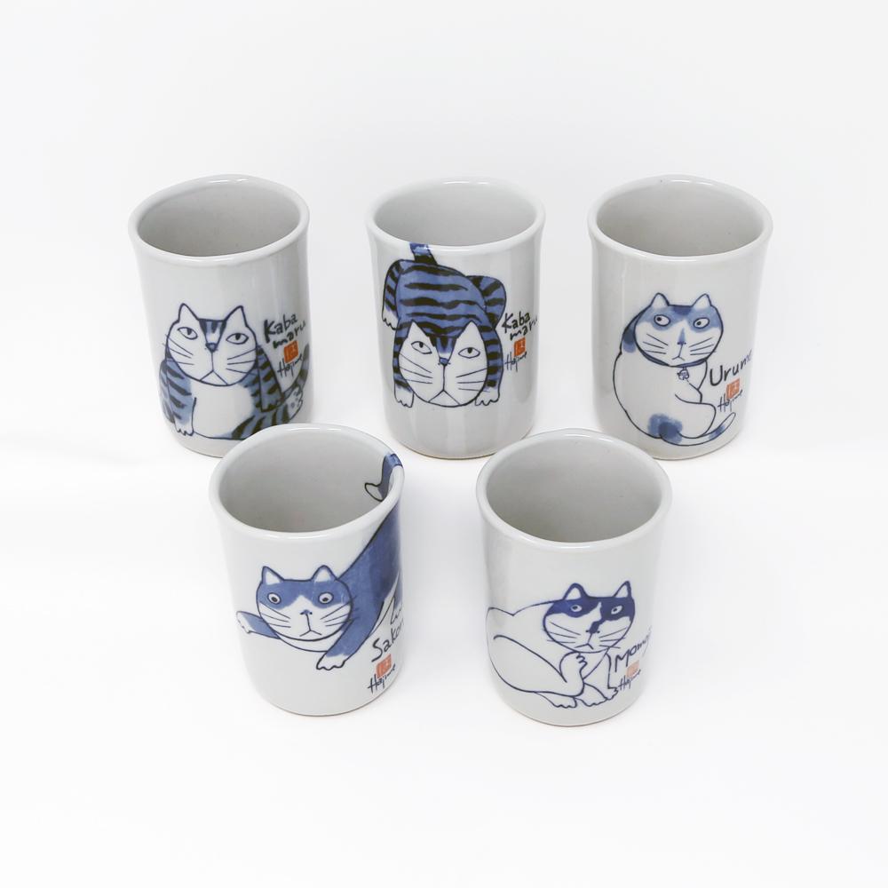 猫湯呑み(やんちゃ猫Kabamaru湯呑み)5客セット