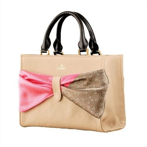 ZAWAZA オリジナルバッグ <結~Yui~> バッグ :ベージュ スカーフ:ピンク(行儀)×チョコ(梅鉢唐草)