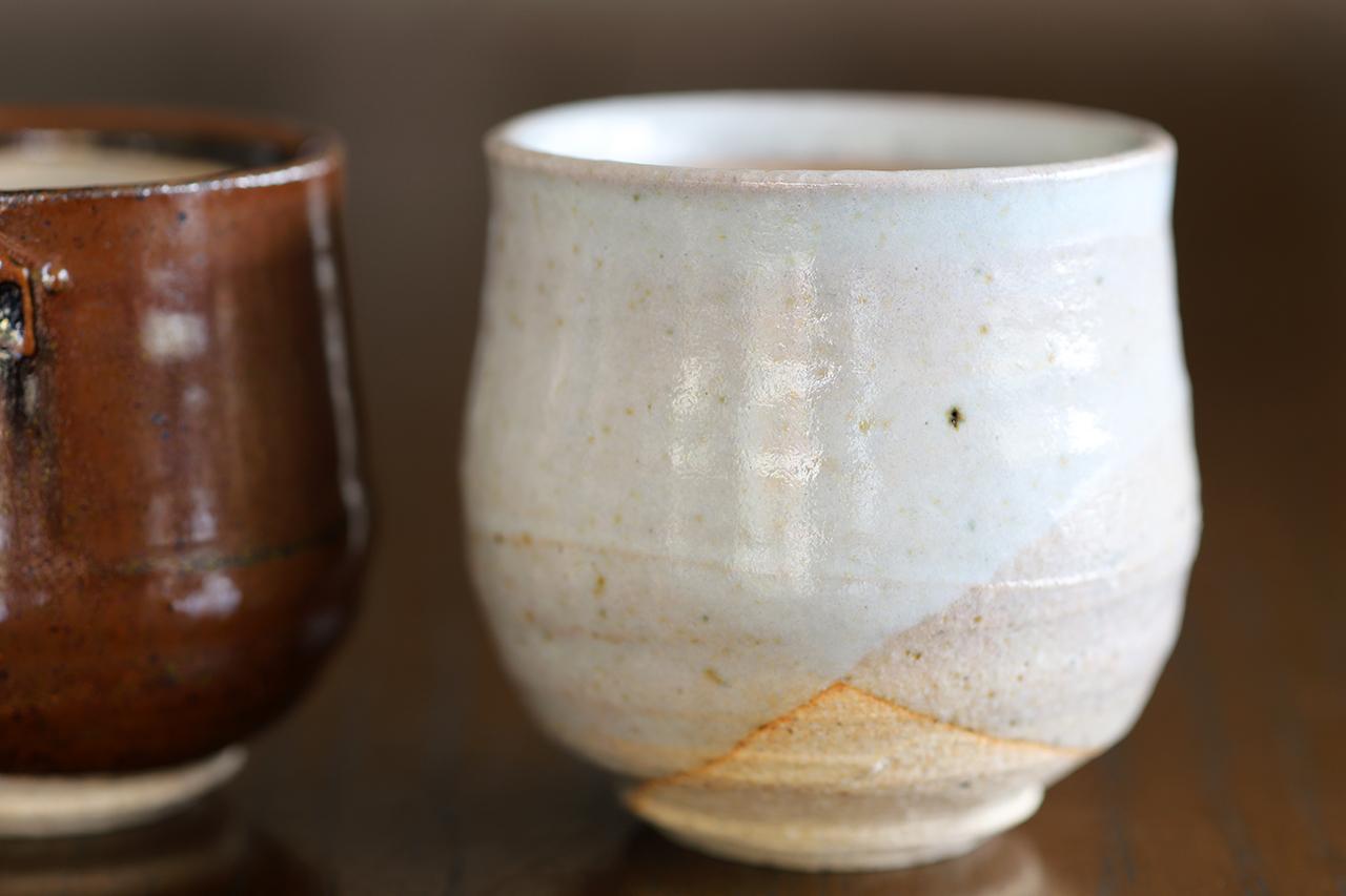 紫香楽萩掛け分け ぐい吞み 作:谷井芳山・谷寛窯(信楽焼)