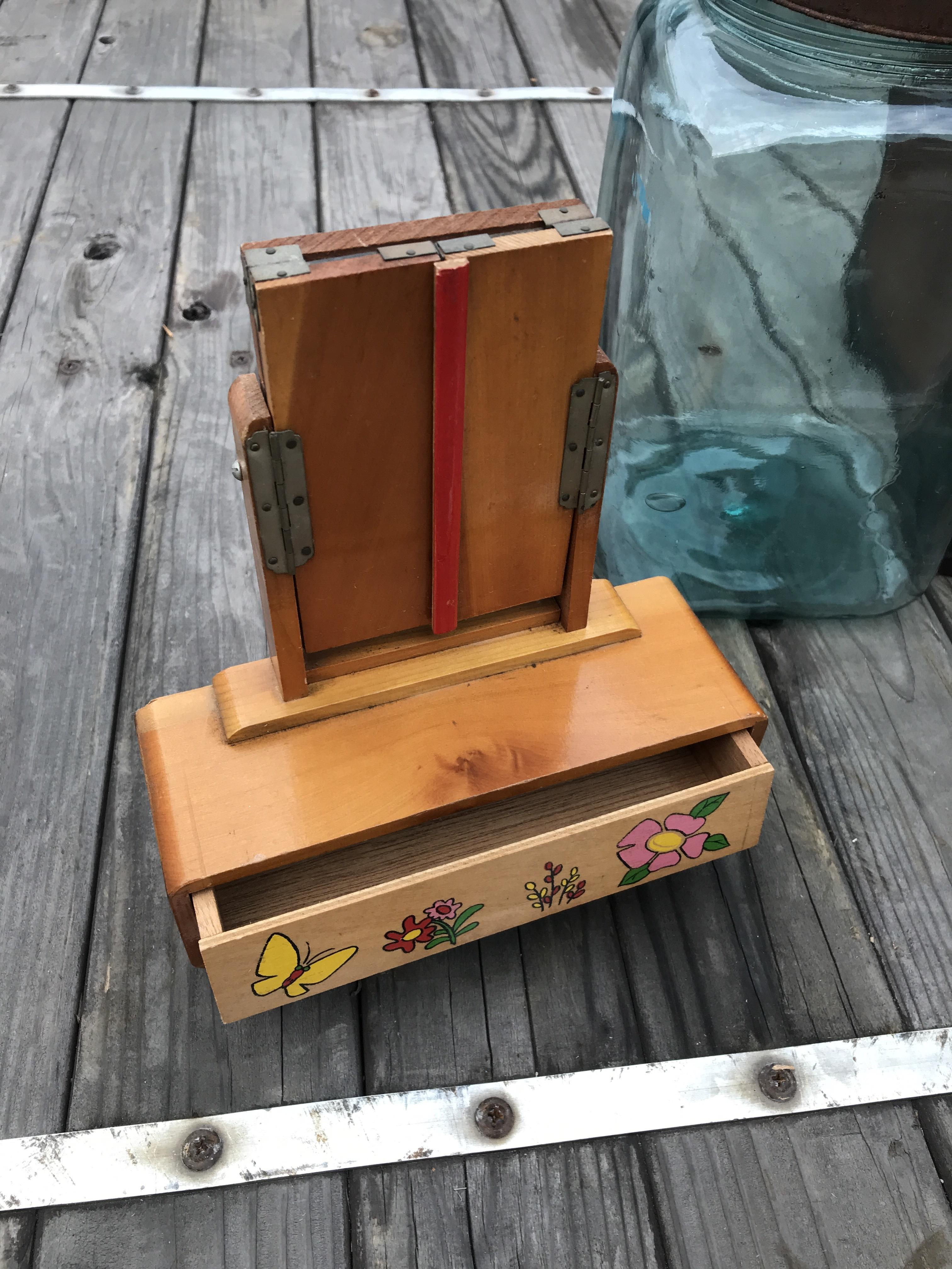 レトロ ままごと 木製の鏡台