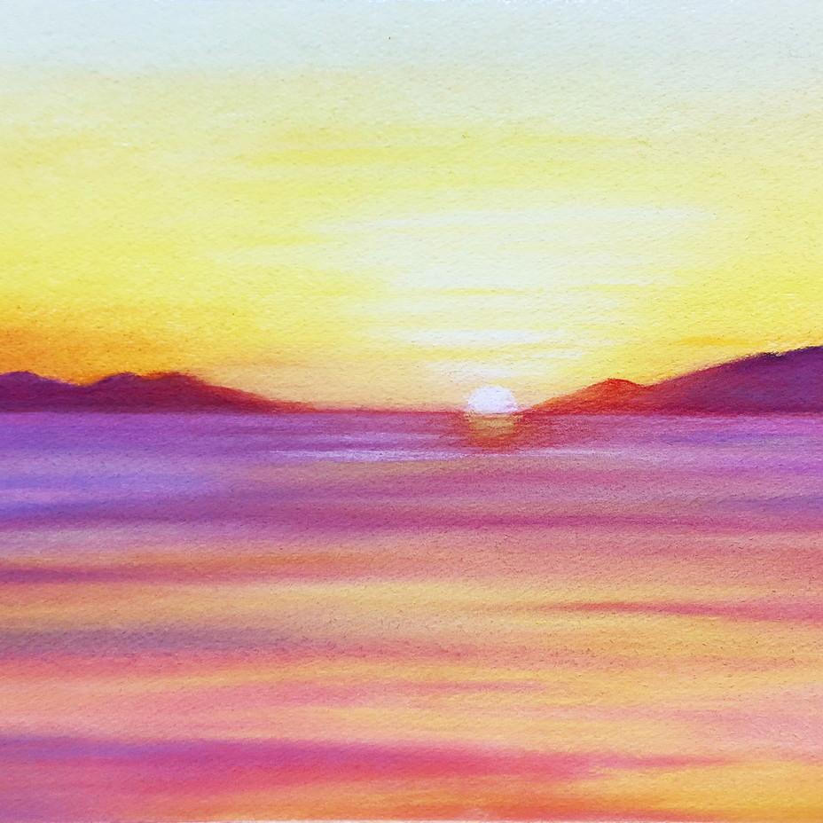絵画 インテリア アートパネル 雑貨 壁掛け 置物 おしゃれ 海 夕日 パステルアート ロココロ 画家 : ゆめの 作品 : 夕陽に染まる海