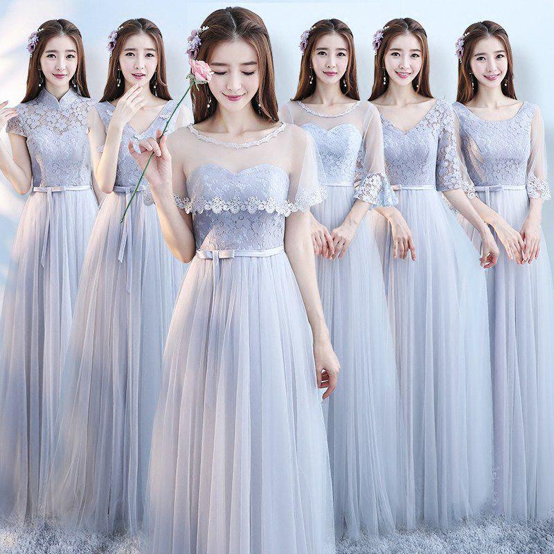 ロングドレス レディース 2018 夏 グレー スリム 結婚式 イブニングドレス T040096001