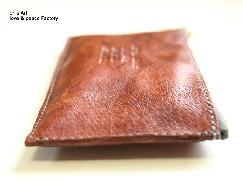 【サンプル品SALE】長財布03(ポーチお財布セット)豚革 ブルーグレー×レッドブラウン OD-W-03-03p-sale