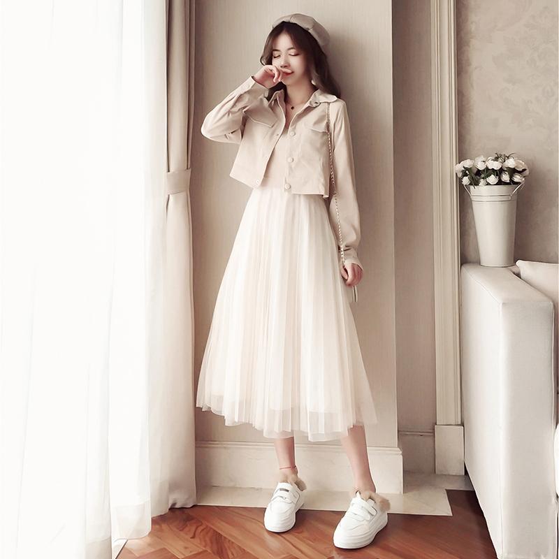 【送料無料】 大人ガーリーに♡ コーデュロイシャツ メッシュ チュールスカート ロングワンピース セットアップ