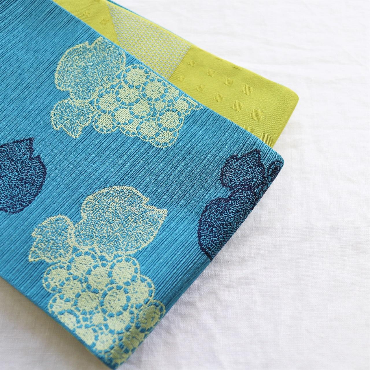 【半巾帯】葡萄 / 花浅葱色 ロングサイズ4.4m
