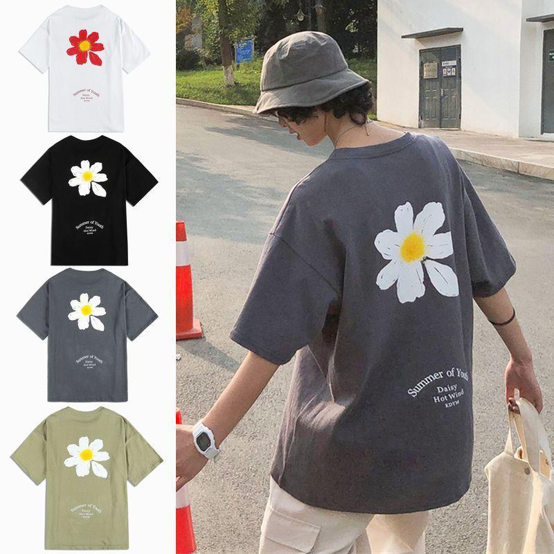 ユニセックス Tシャツ 半袖 メンズ レディース ラウンドネック 英字 一片の花 フラワープリント オーバーサイズ 大きいサイズ ルーズ ストリート