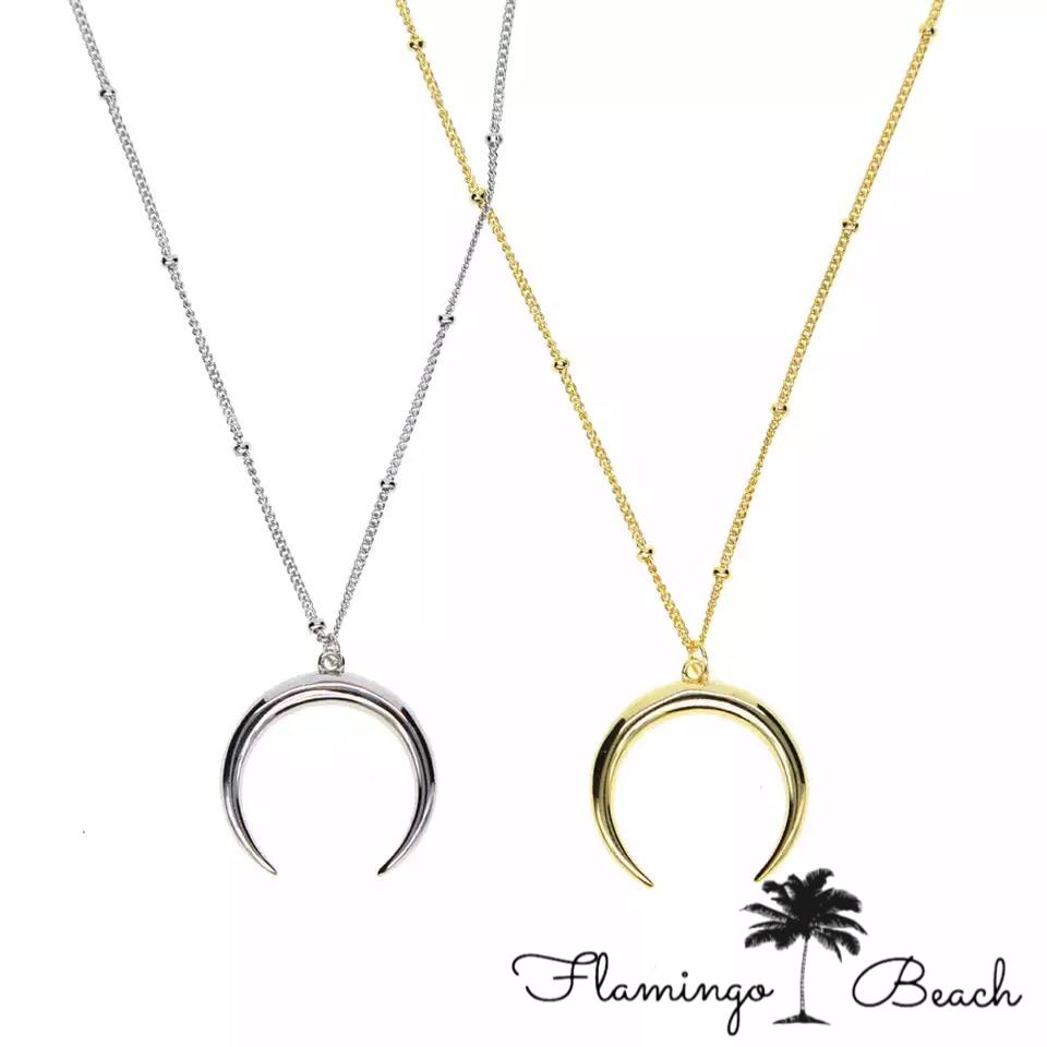 【FlamingoBeach】925 half moon necklace