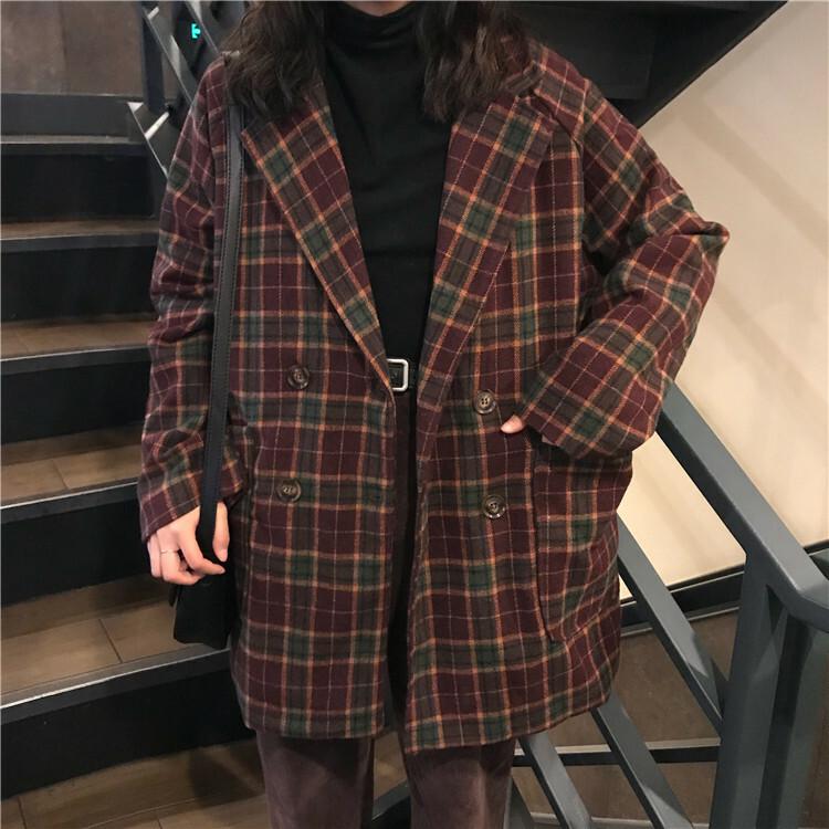 【送料無料】秋色 チェック柄 ♡ 大人可愛い ダブル テーラードジャケット チェスターコート
