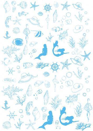 SEA転写紙 A4サイズ(ポーセリンアート用転写紙 海・夏)