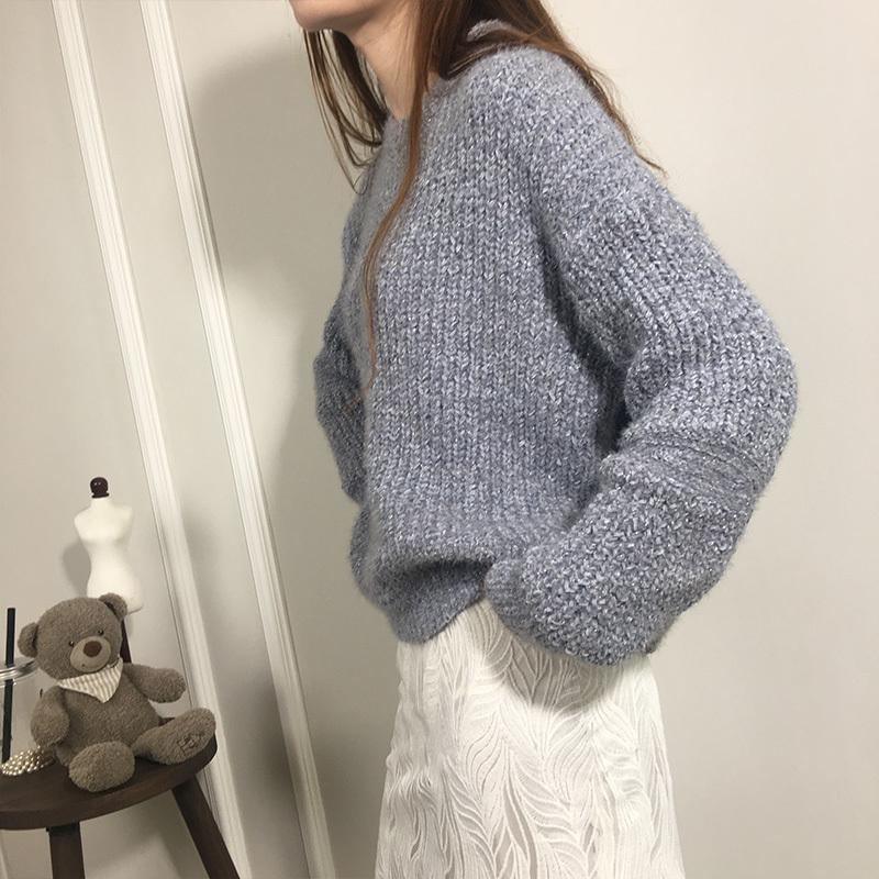 ラメニット ショート丈 ラウンドネック トップ 甘い色 セーター