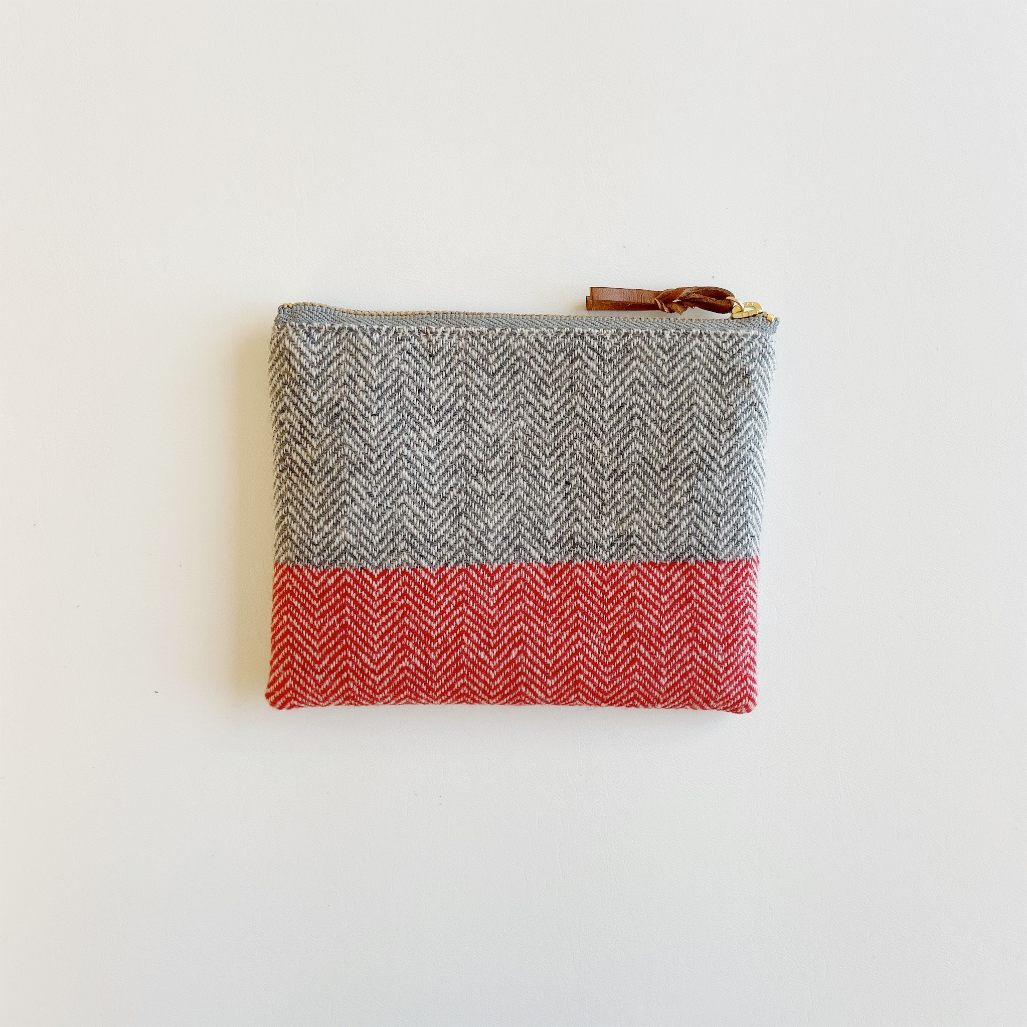 手織りミニポーチ(Accessory case Cashmere herringbone)