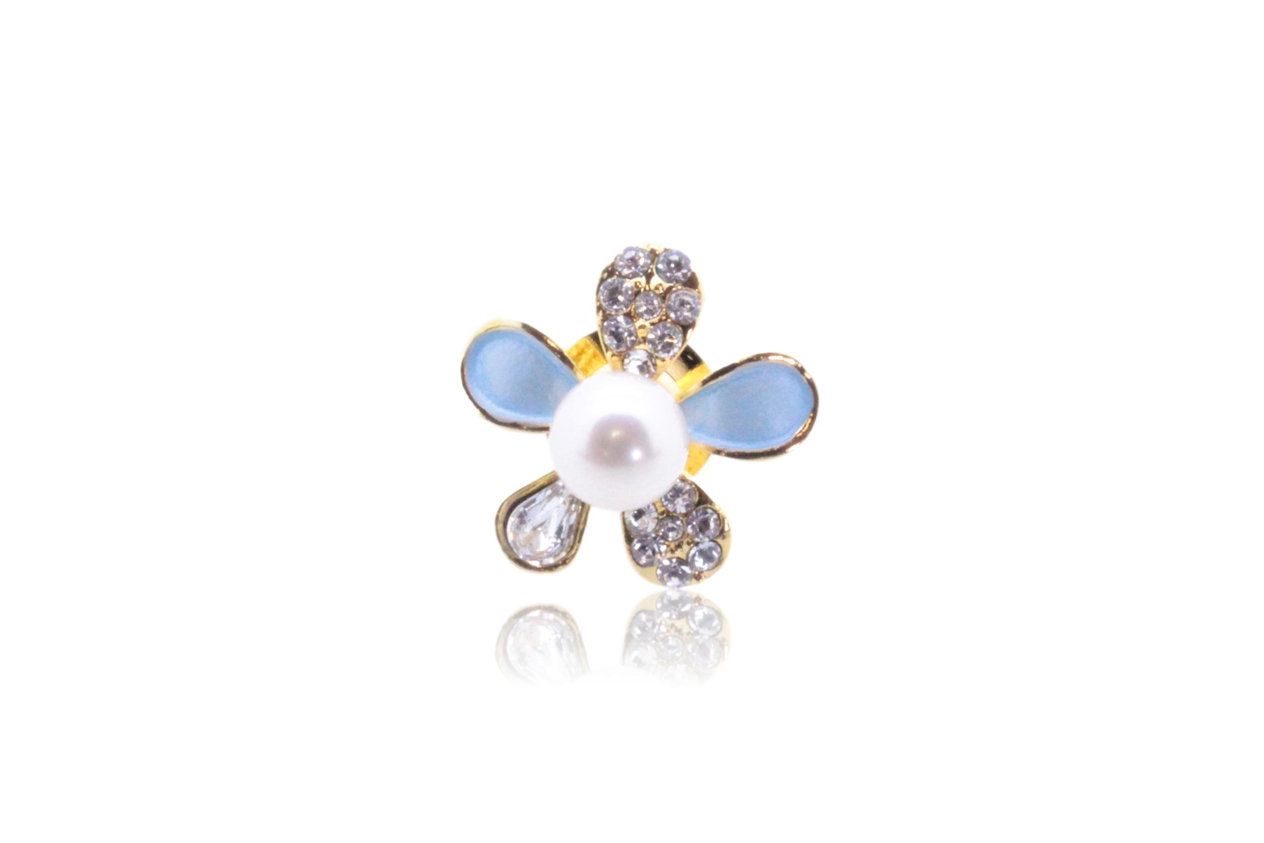 アコヤ真珠 ピンブローチ〈カラーフラワー〉ライトブルー