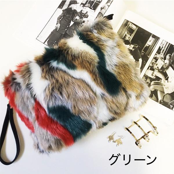 ミックスフェイクファー 2way クラッチバッグ 3色 bag106