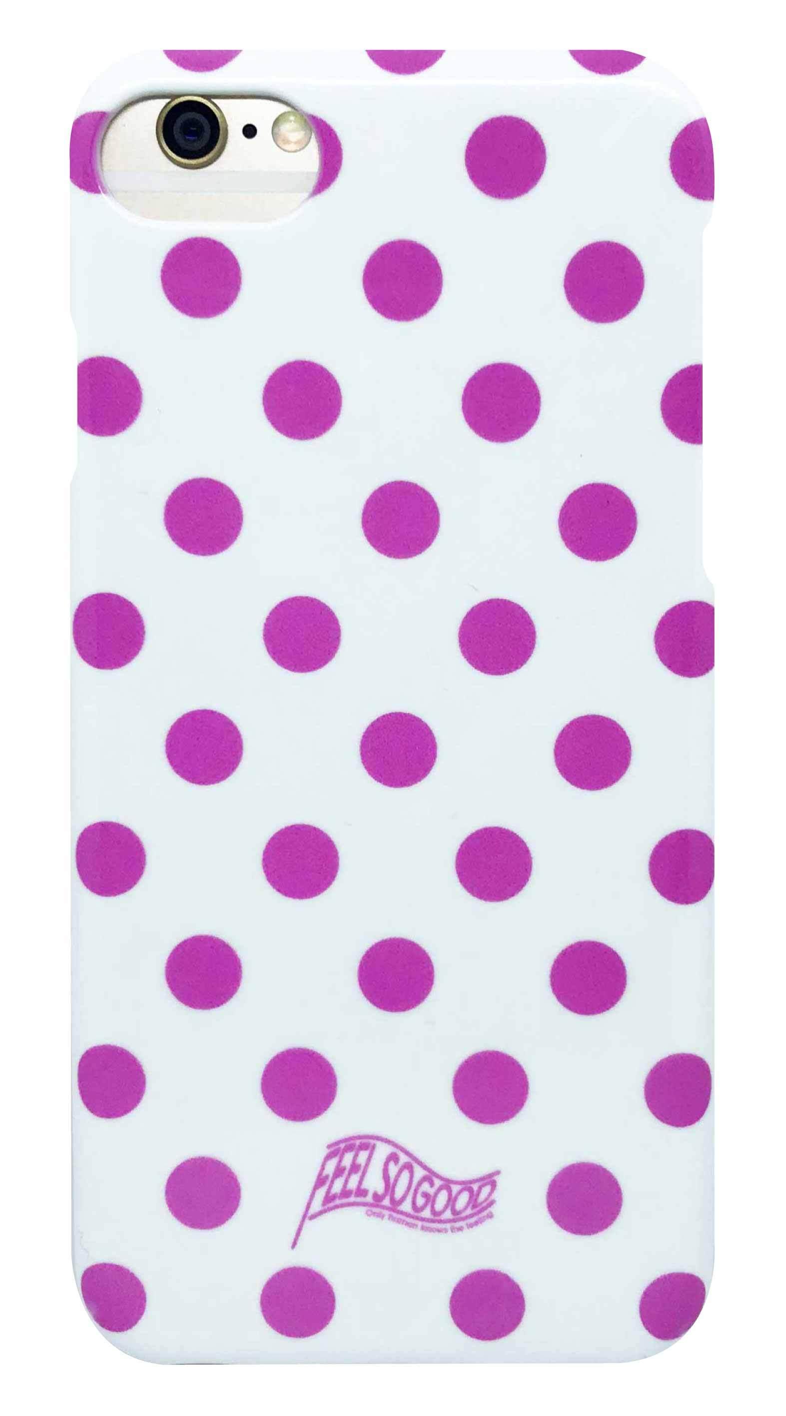 ドット ・ 白 × ピンク つや消しハード ケース