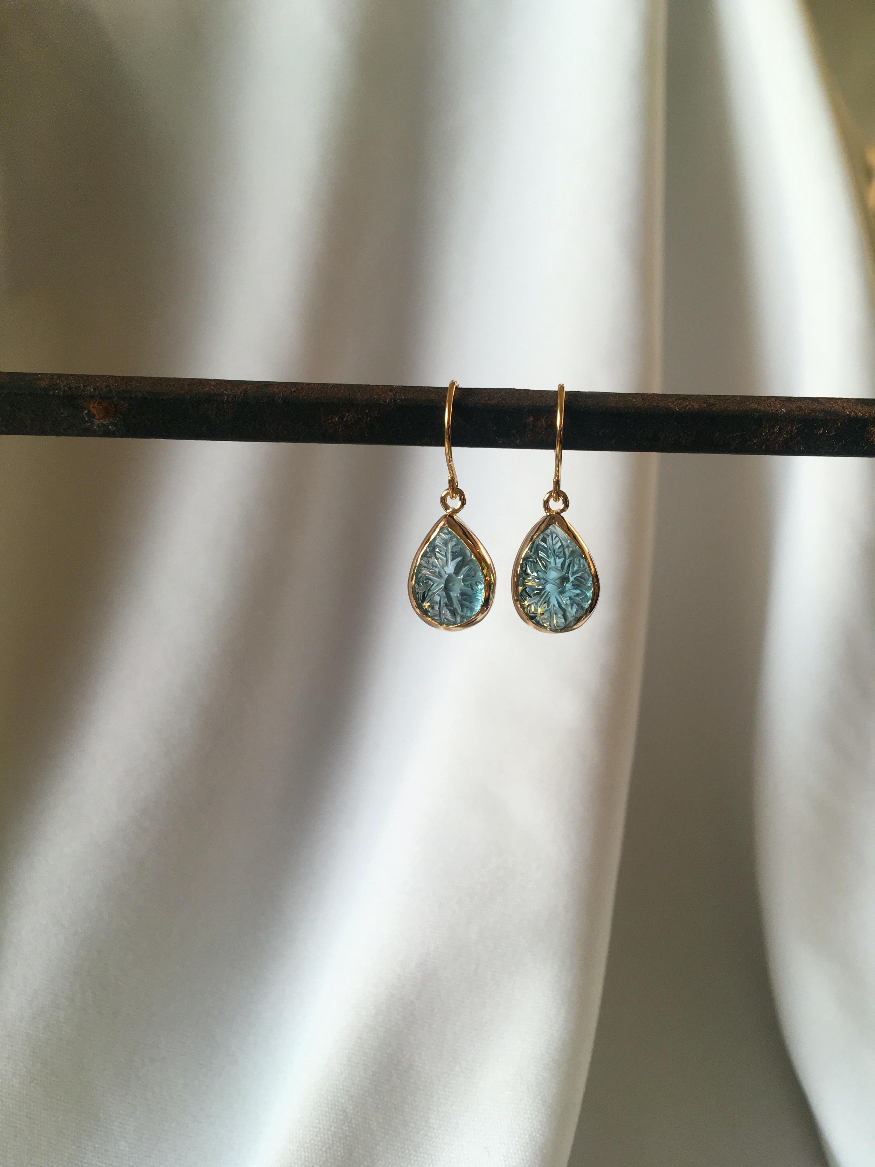 K10 Carving Blue Topaz Earrings drop 10金カービング(彫り)ブルートパーズピアス/イヤリング(ドロップ)