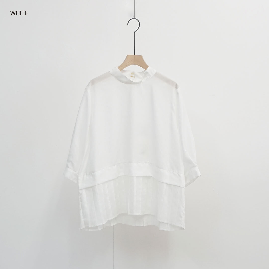 WHYTO. ホワイト プリーツブラウス (品番wht19hbl4)