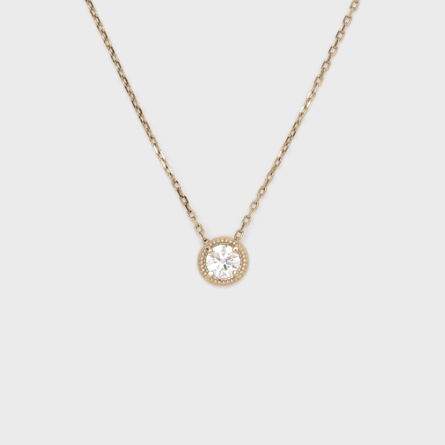 ENUOVE frutta Diamond Necklace K18YG(イノーヴェ フルッタ 0.2ct ミルグレイン ダイヤモンドネックレス K18イエローゴールド スライドアジャスターチェーン)