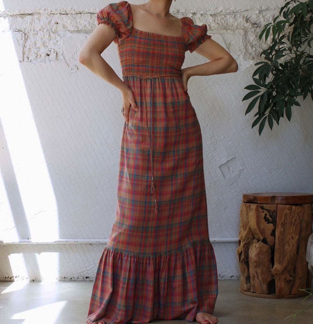 【nowos】PUFF SLEEVE CHECK ONEPIECE