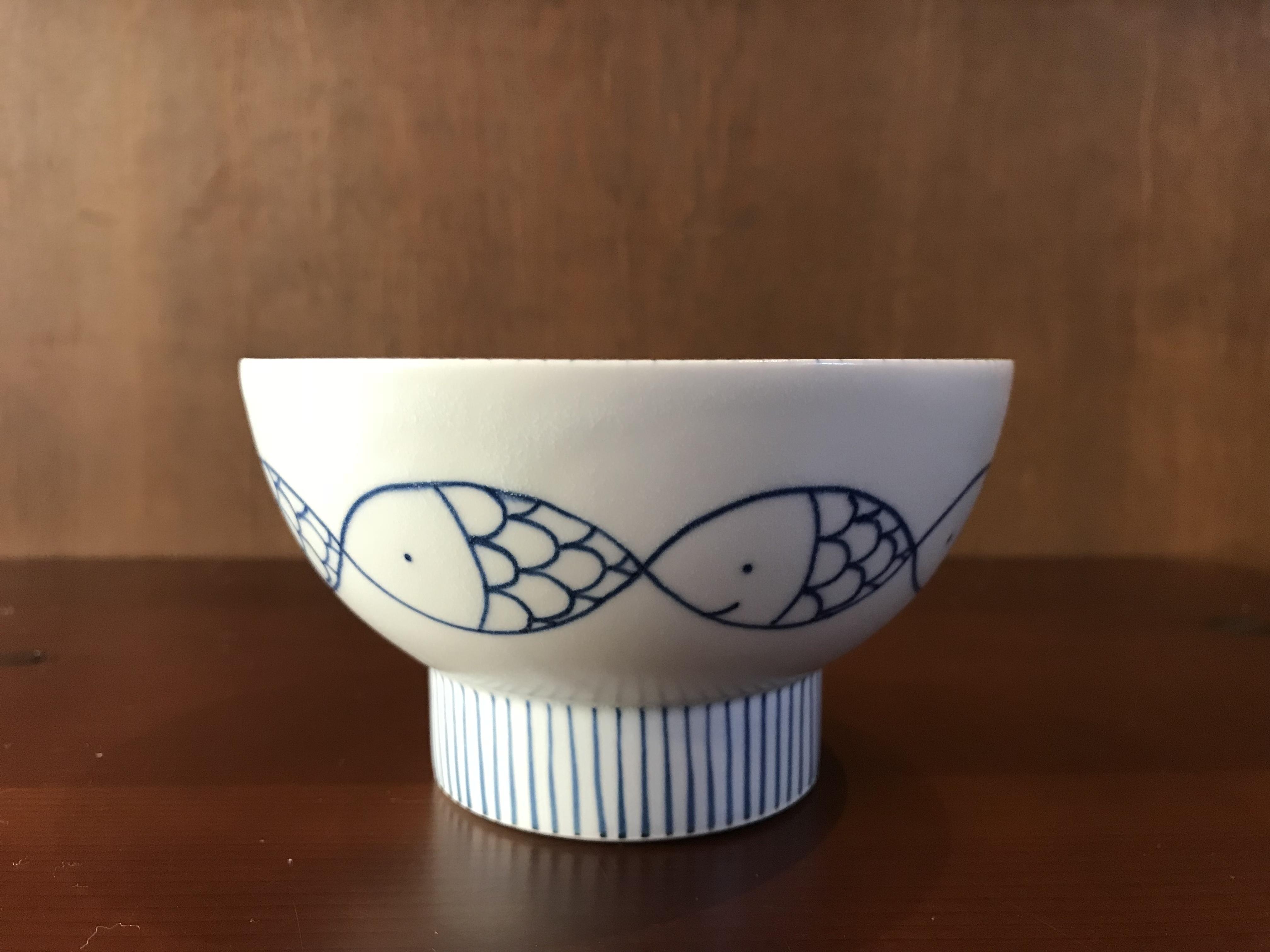 砥部焼  すこし屋  茶碗(大)  魚と十草