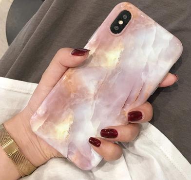 【お取り寄せ商品、送料無料】お洒落大理石風  ピンク iPhoneケース