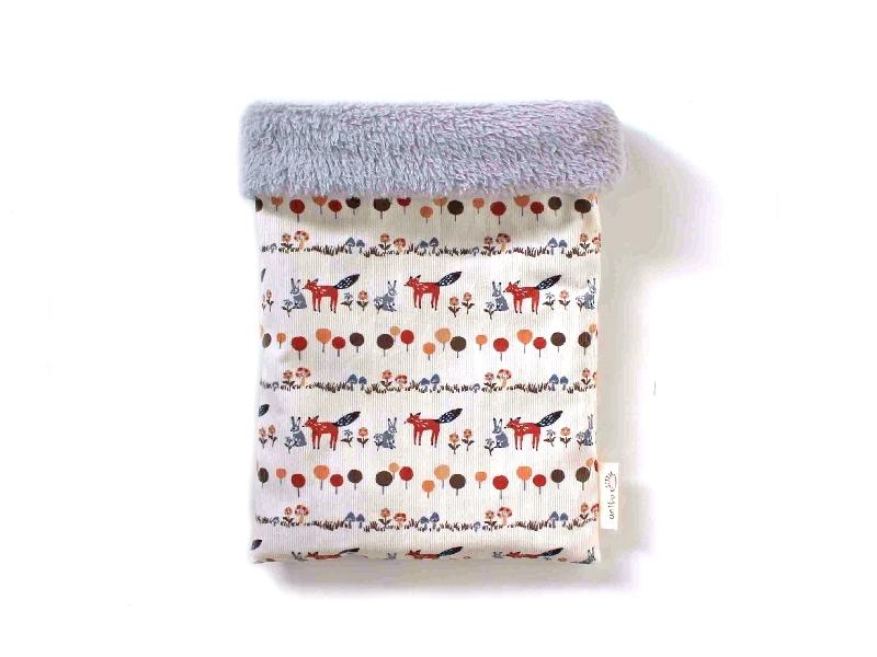 ハリネズミ用寝袋 M(冬用) コーデュロイ×ボアフリース うさぎとキツネ