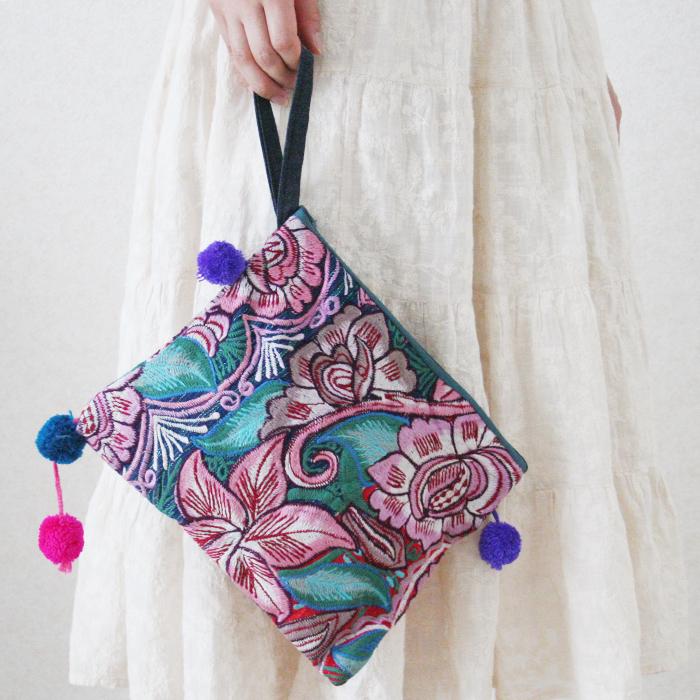 シナカンタンの花刺繍ポーチ /230e/ MEXICO メキシコ