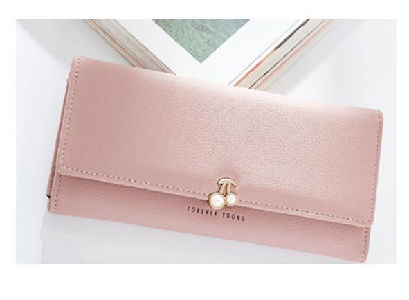 76c8b1ab52f6 さくらんぼモチーフが可愛い♡レディース長財布♡大容量ウォレット ピンク