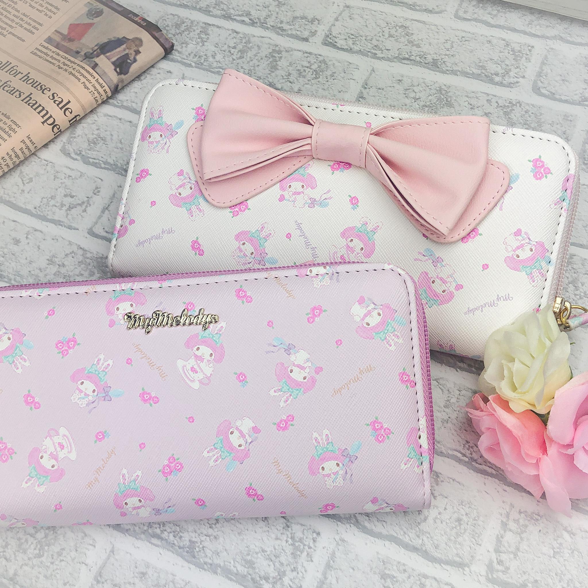 マイメロディ リボン長財布(ピンク/ホワイト)