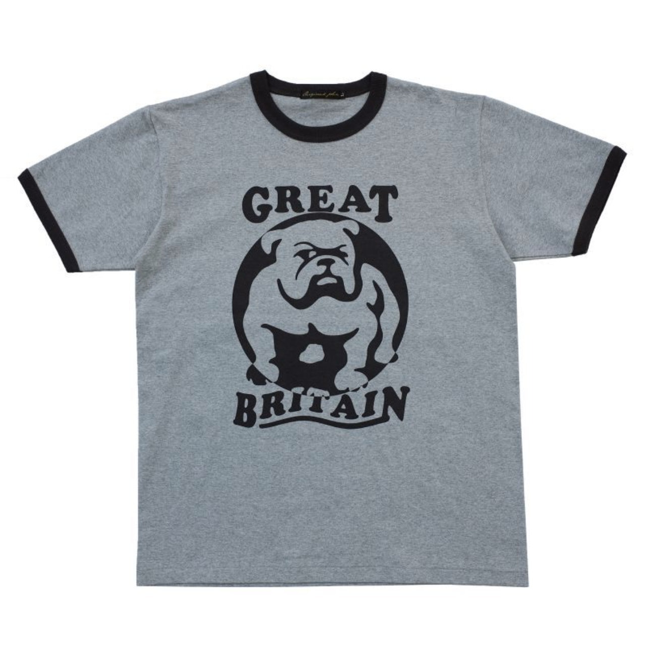 【Original John】 ブルドッグ プリント リンガー Tシャツ 〈Grey×Black〉