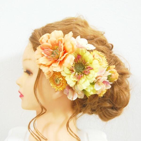 【アーティフィシャル】結婚式ドレス・和装・成人式の髪飾りに。オレンジとグリーンのジニア・ヘリクリサム・紫陽花のヘッドドレス