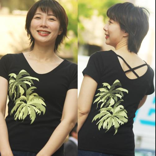 APPLE HOUSE 100%made in Japan.ヘルシー&セクシー! ハワイアンデザインのフレンチ袖後クロスTシャツ(TWO PALMS) No.134289